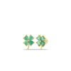 Ana Four Leaf Clover Stud Earrings with Green CZ