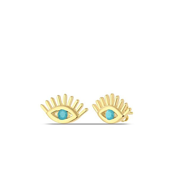Turquoise Stud Earrings in Gold