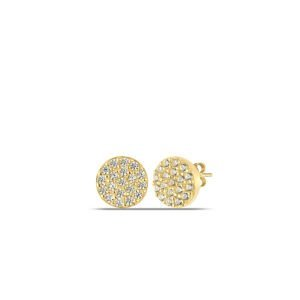 Pave Circle Stud Earrings in Gold