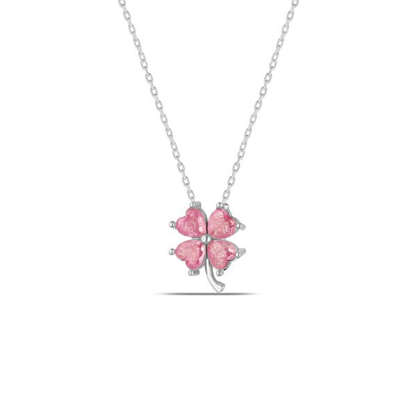 Real Four Leaf Clover Necklace in Silver