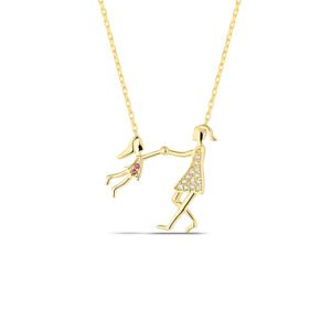Mother and Daughter Necklace in gold
