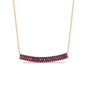 Red Ruby Necklace in Rose Gold