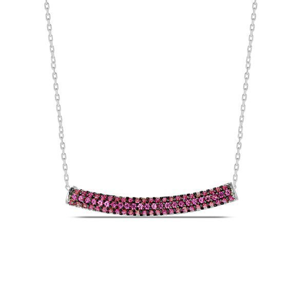 Red Ruby Necklace in Silver