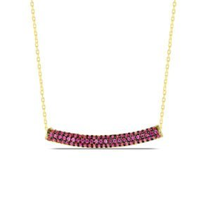 Red Ruby Necklace in Gold