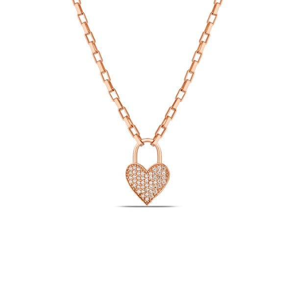 Heart Lock Necklace in Rose Gold