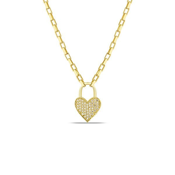 Heart Lock Necklace in Gold