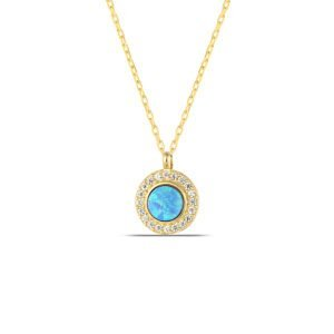 Blue Opal Necklace in Gold