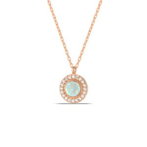White Opal Necklace in Rose Gold