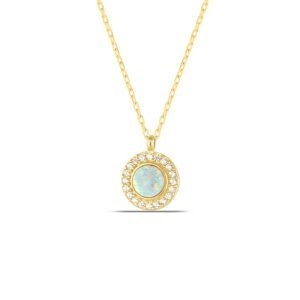 White Opal Necklace in Gold