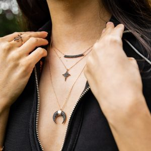 North Star Necklace on Model