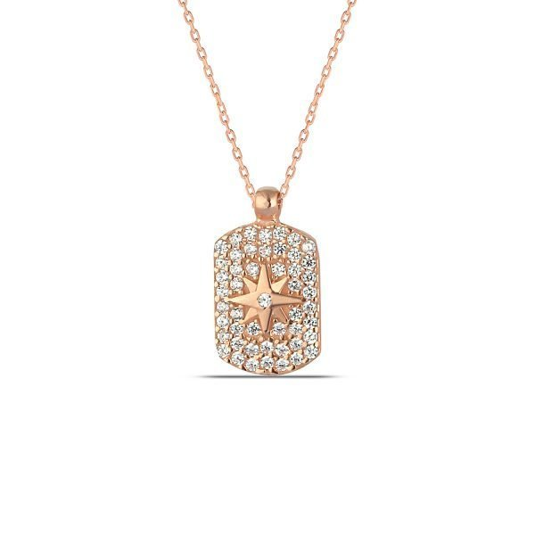 Pave Dog Tag Necklace in Rose Gold
