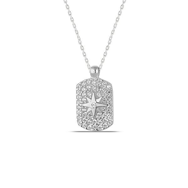 Pave Dog Tag Necklace in Silver