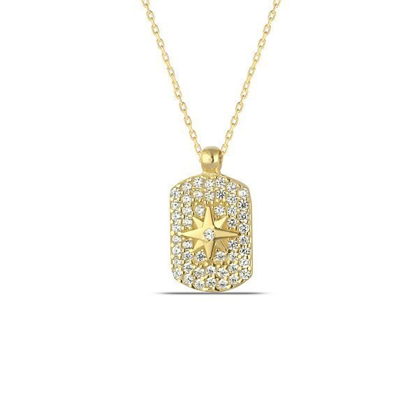 Pave Dog Tag Necklace in Gold